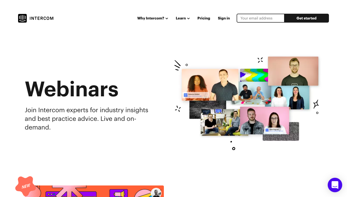 Intercom Webinars Page