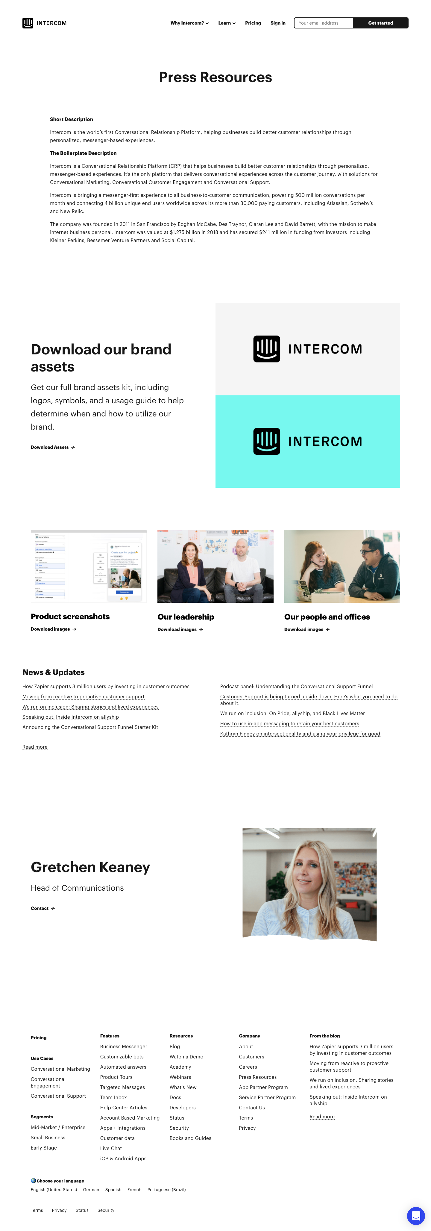 Intercom Press Page