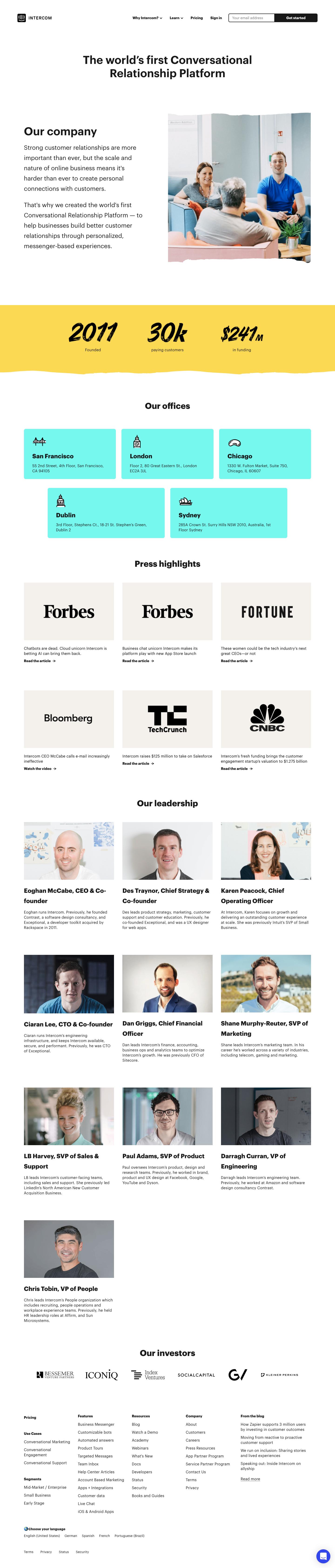 Intercom About Page