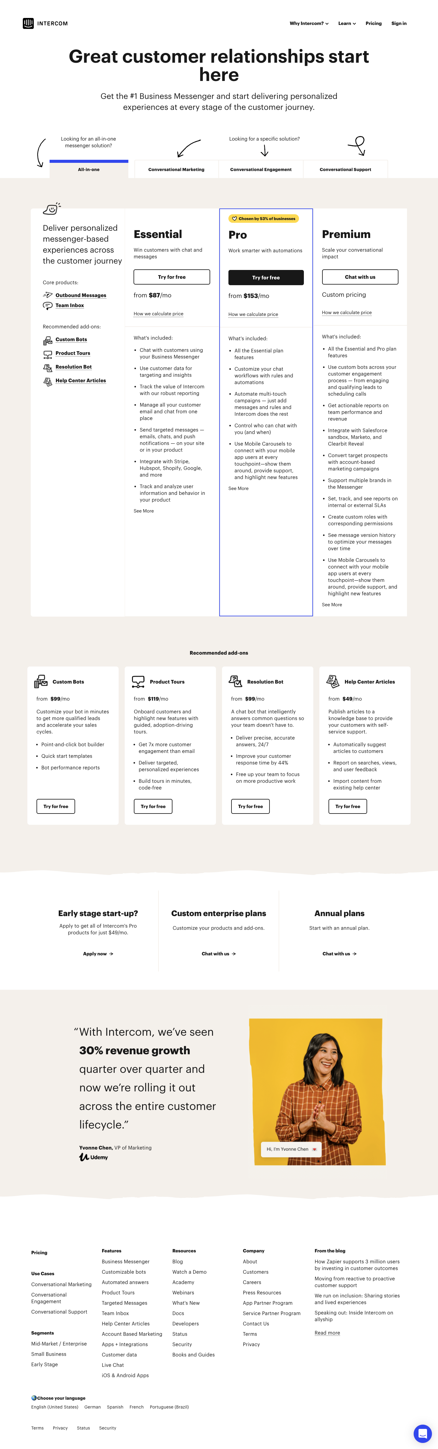 Intercom Pricing Page
