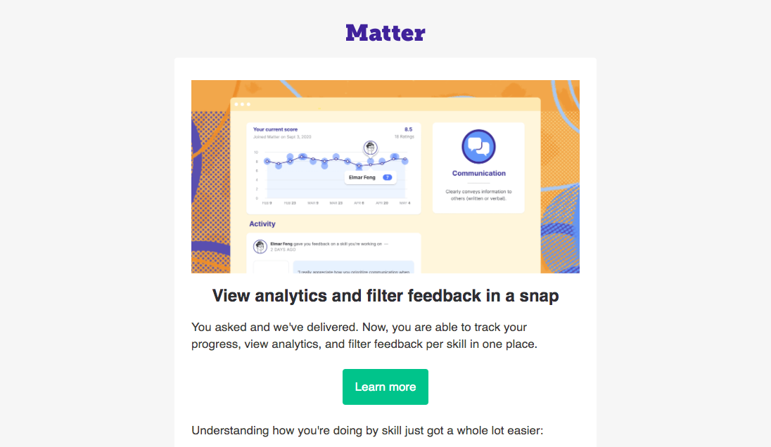 Matter Product Hunt Launch Email