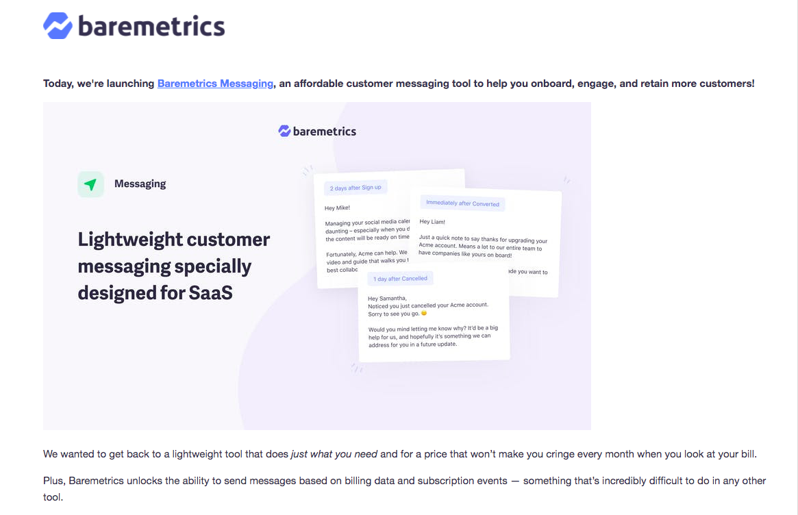 Baremetrics Product Hunt Launch Email