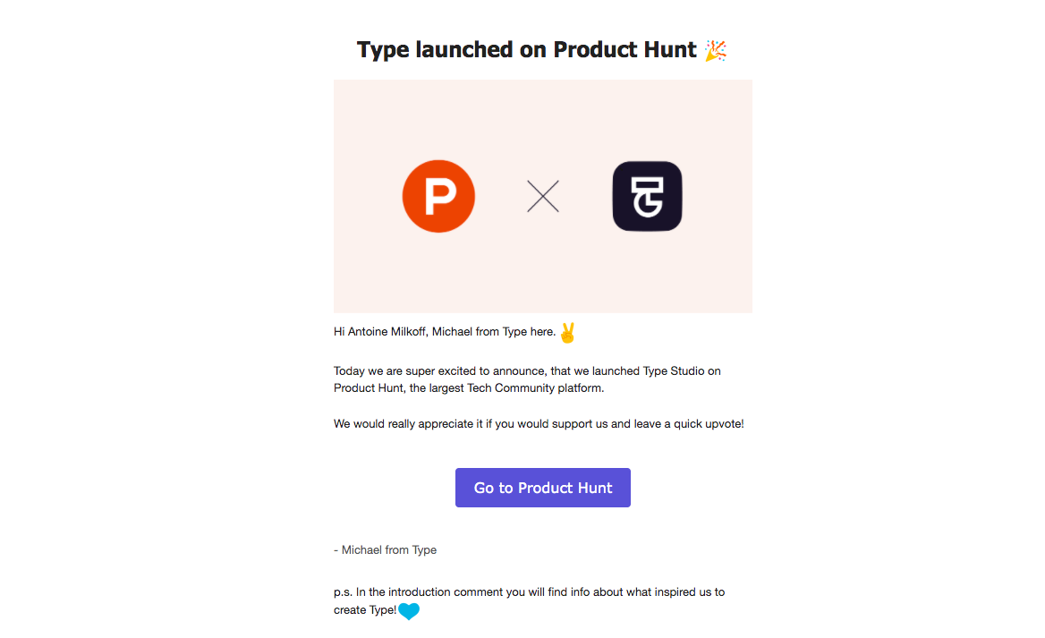 Type Product Hunt Launch Email