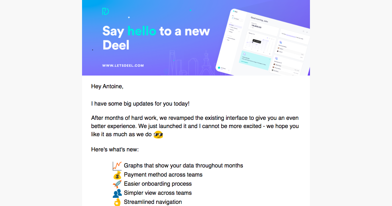 Deel Product Hunt Launch Email