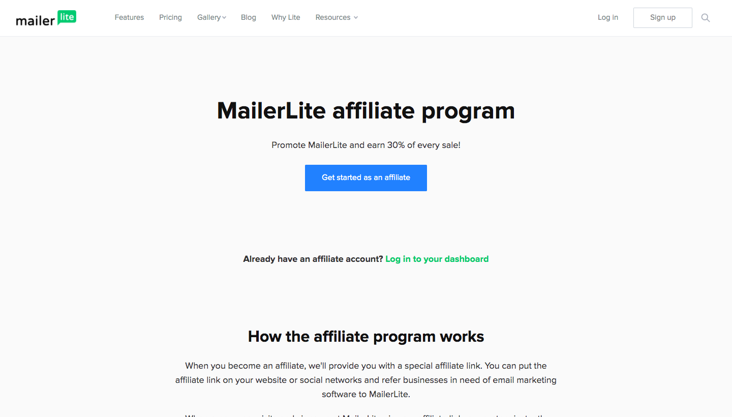 MailerLite Affiliate Program Page