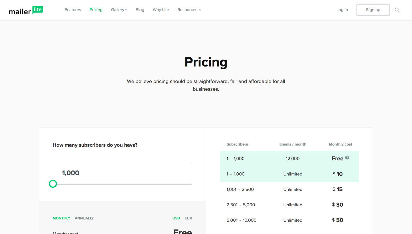 MailerLite Pricing Page