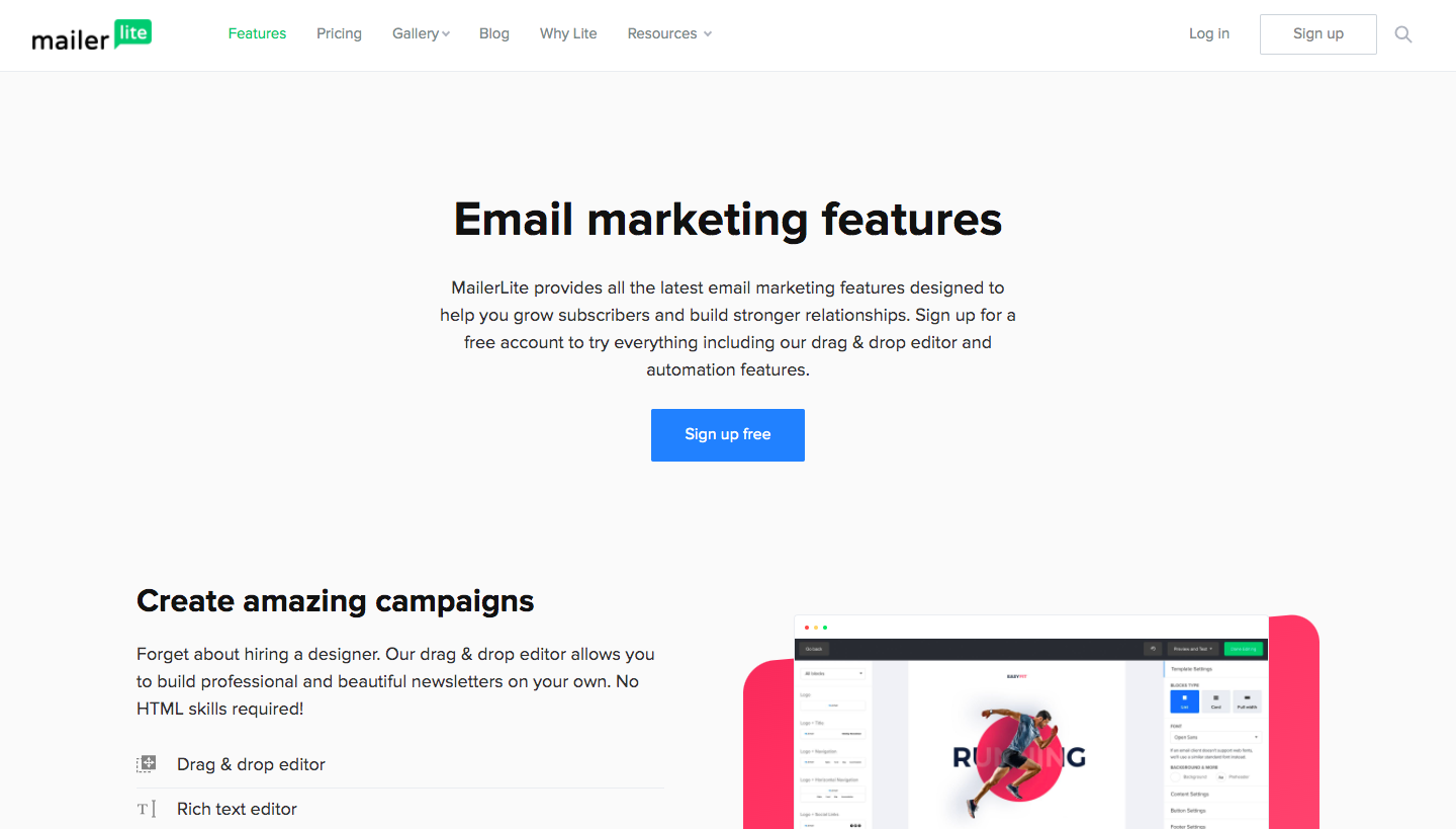 MailerLite Features Page
