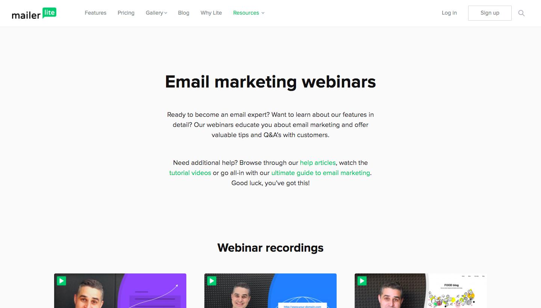 MailerLite Webinars Page