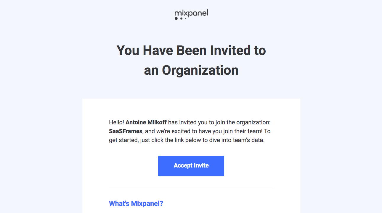 Mixpanel Invitation Emails