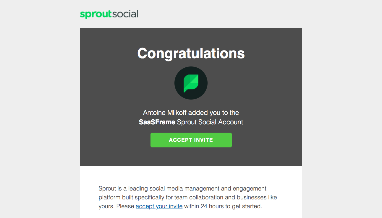 Sprout Social Invitation Email