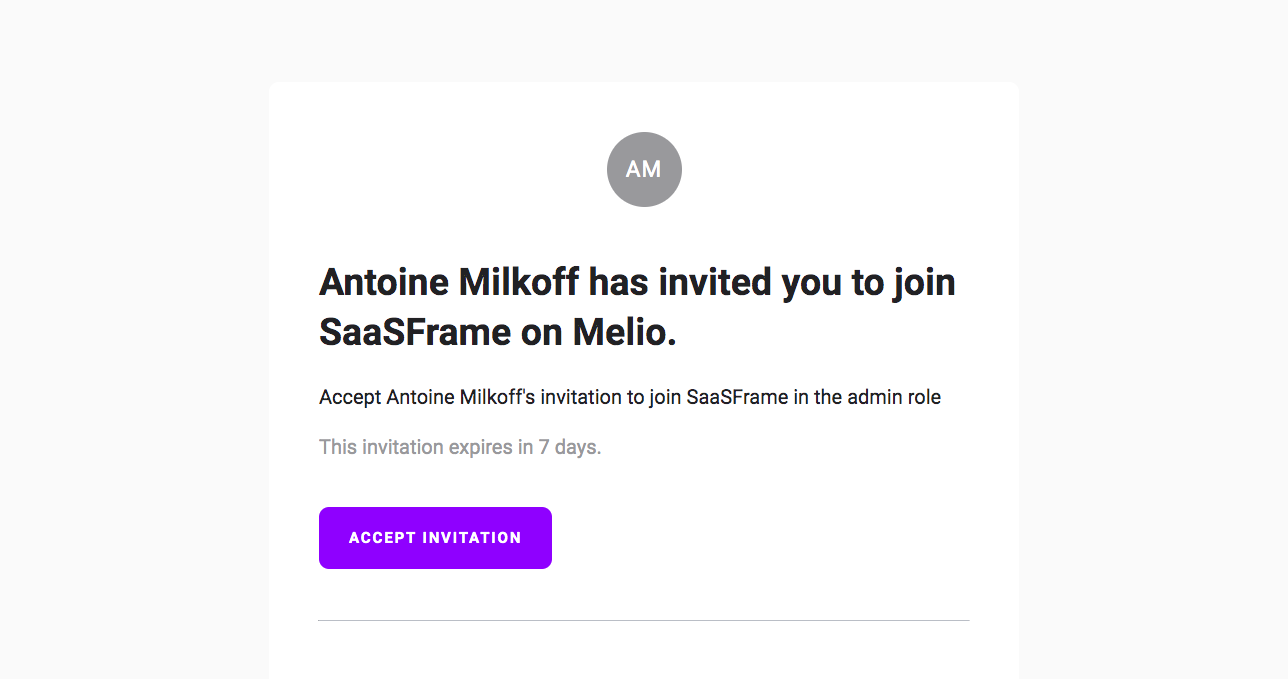Melio Invitation Emails