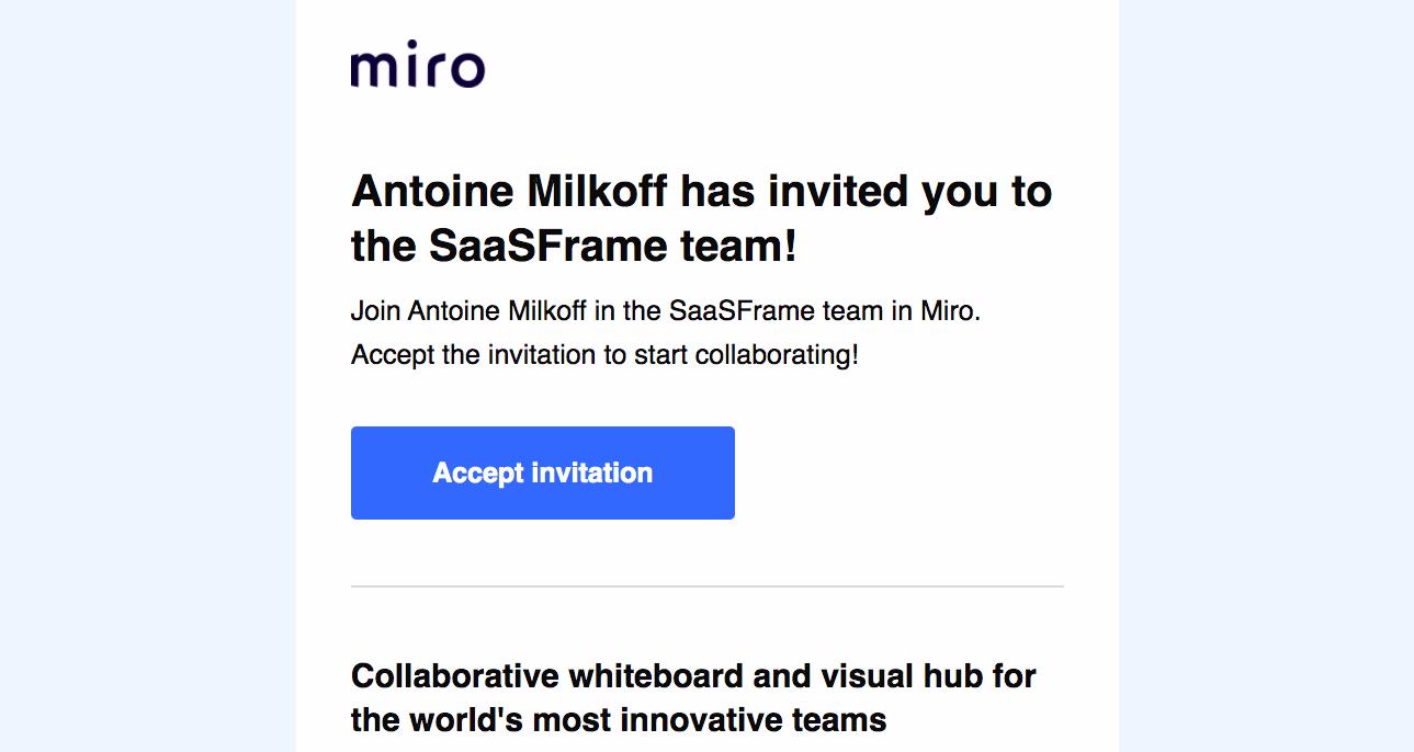 Miro Invitation Email