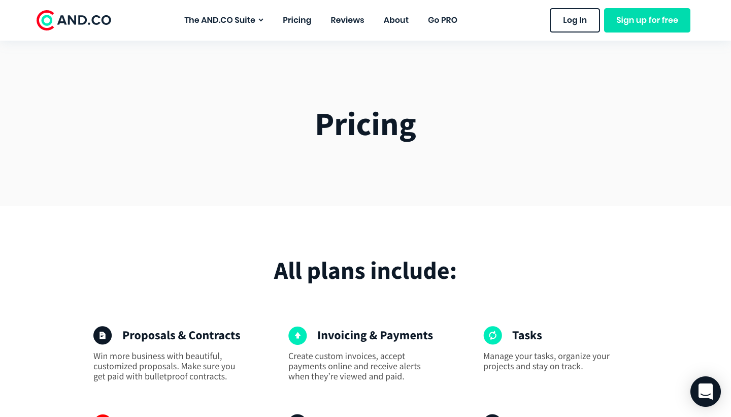 AND.CO Pricing Page