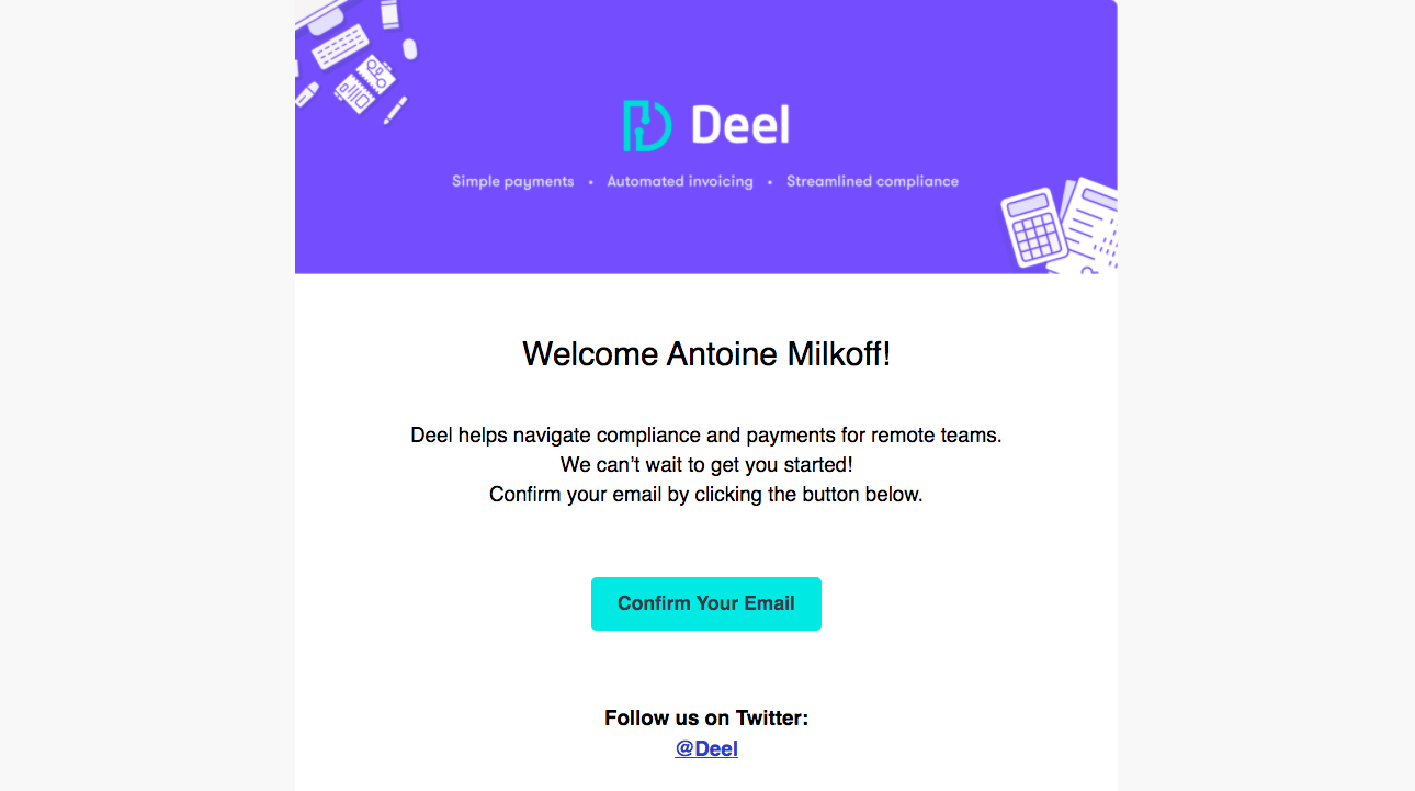 Deel Account Verification Email