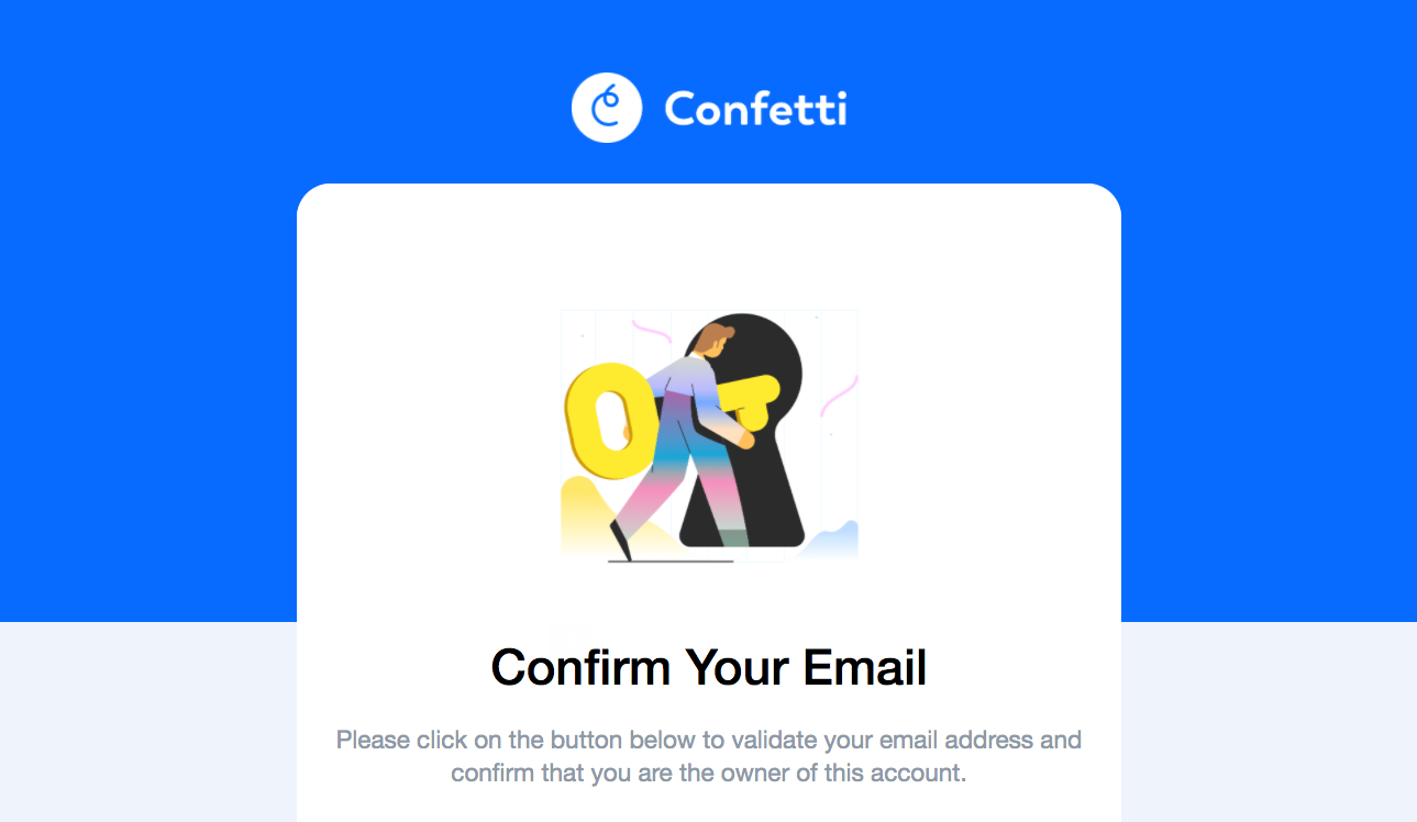 Confetti Account Verification Email