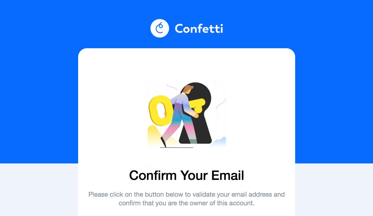 Confetti Account Verification Email