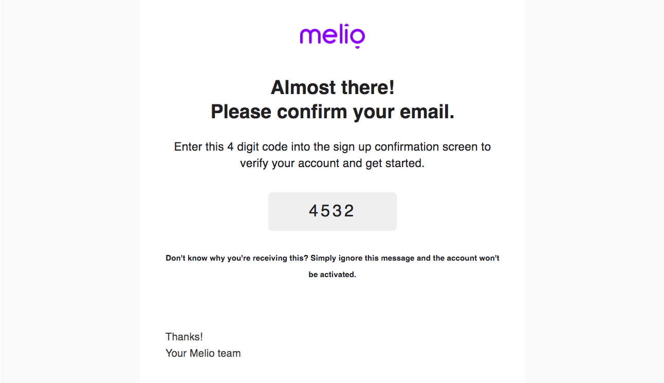 Melio Account Verification Email