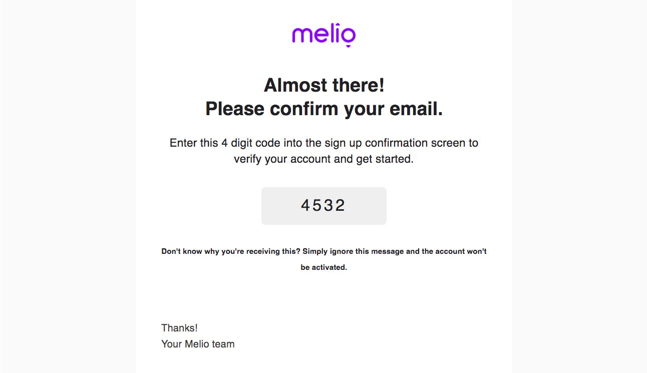 Melio Account Verification Email