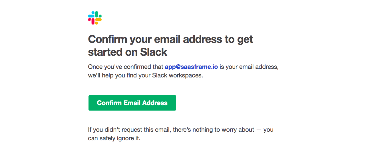 Slack Account Verification Email