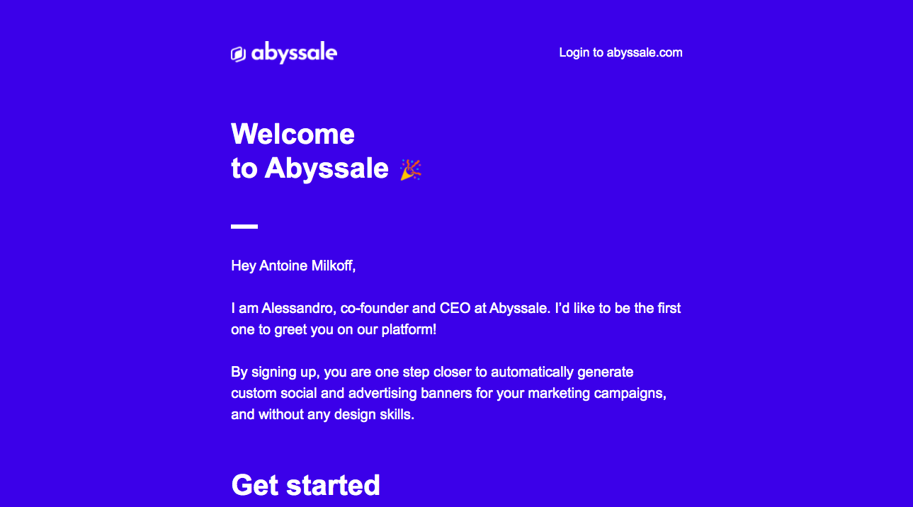 Abyssale Welcome Email