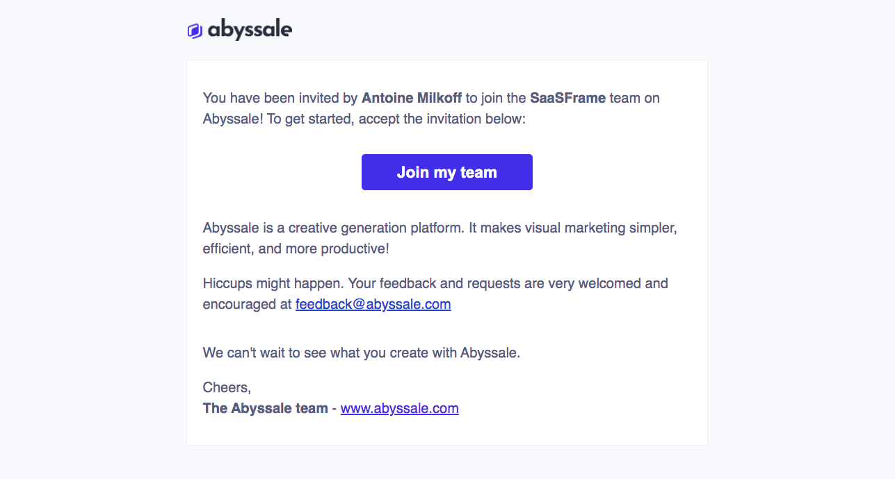 Abyssale Invitation Email