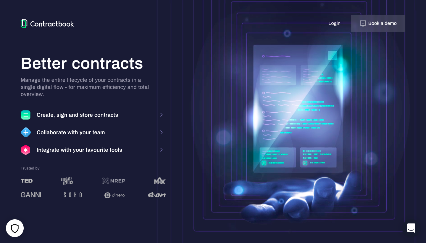 Contractbook Landing Page