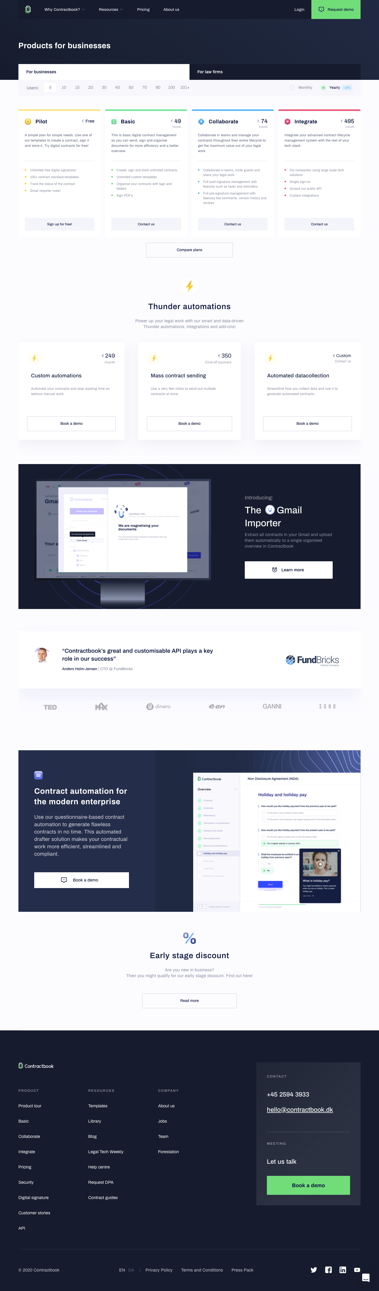 Contractbook Pricing Page