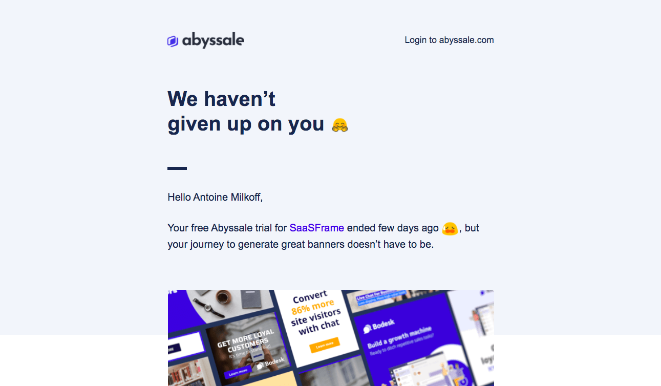 Abyssale Free Trial Emails