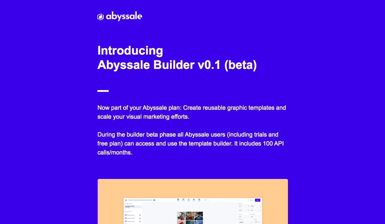Abyssale New Features Emails