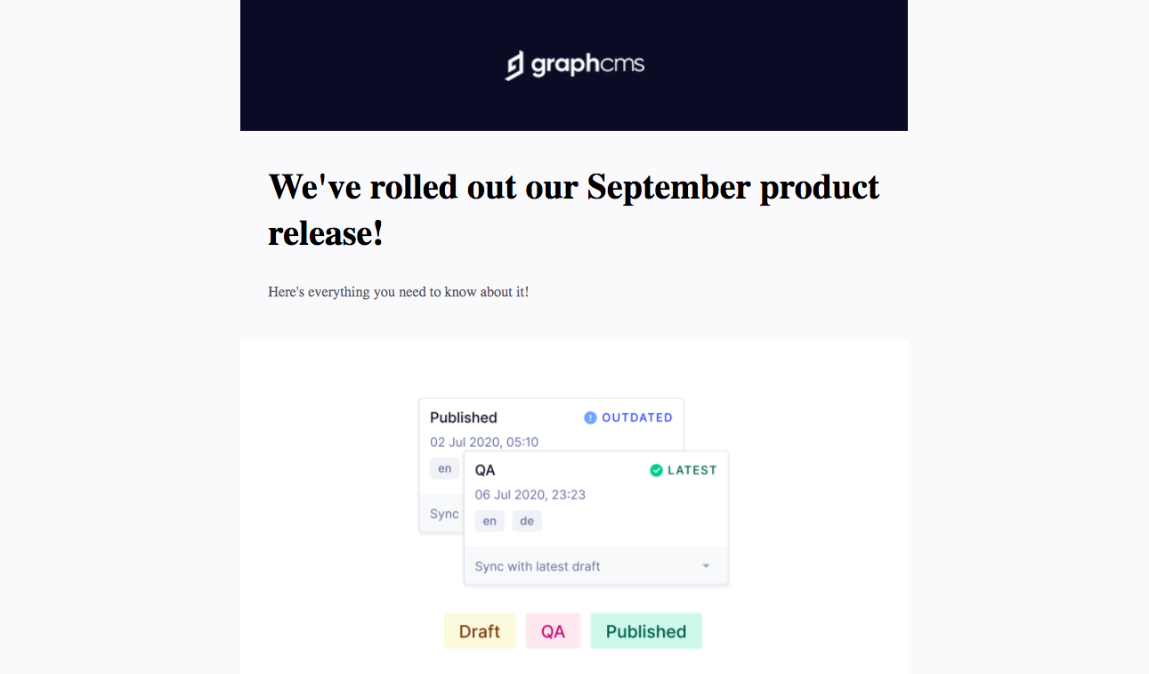 GraphCMS New Features Emails