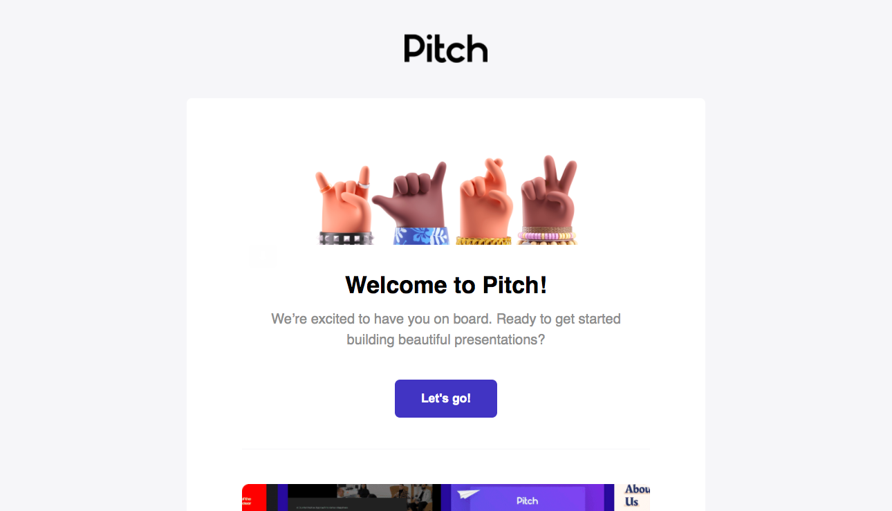 Pitch Welcome Email
