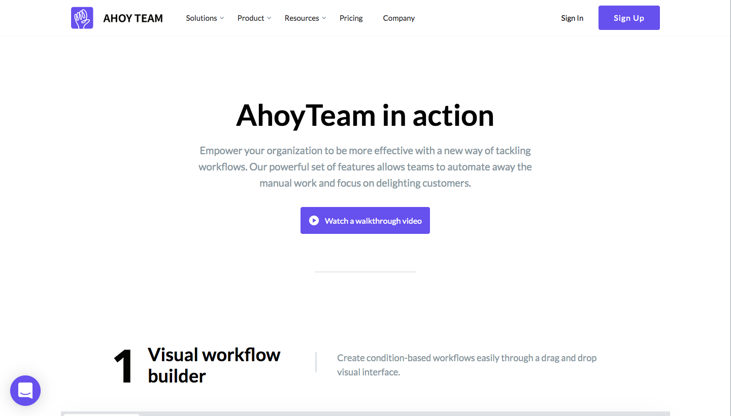 AhoyTeam Features Page