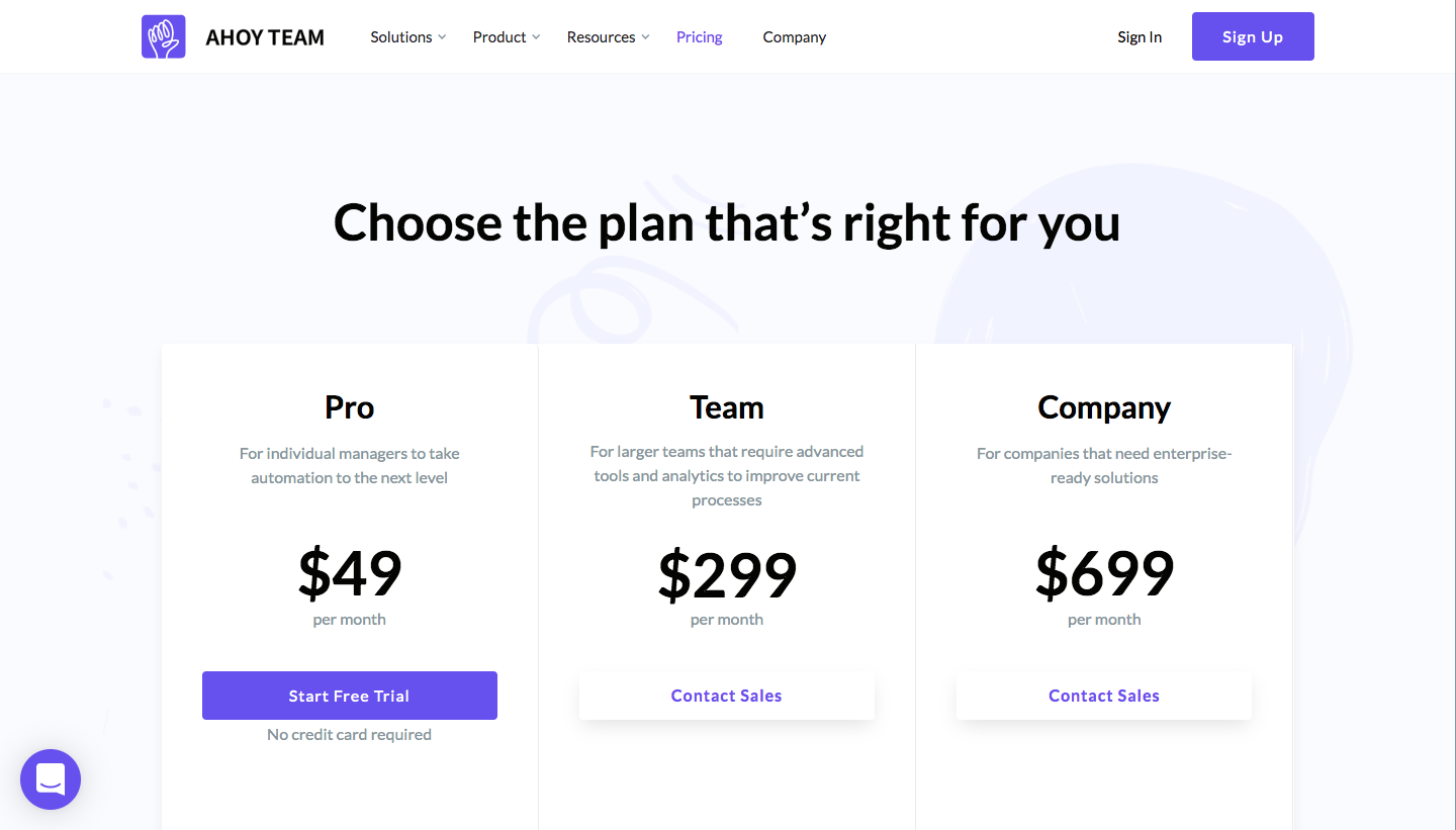 AhoyTeam Pricing Page
