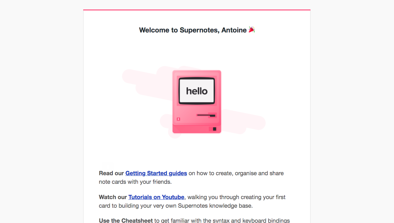 Supernotes Welcome Email