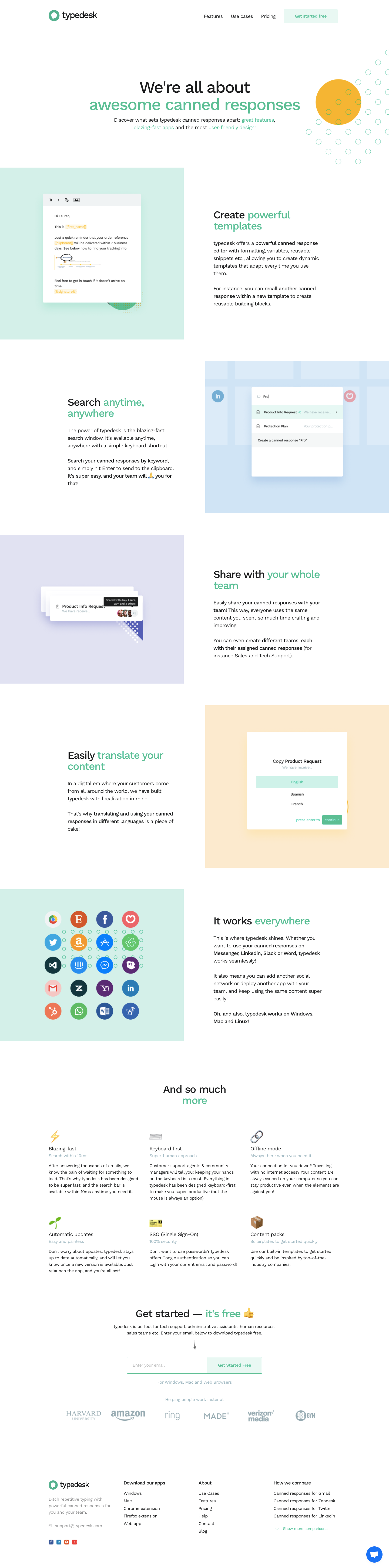 Typedesk Features Page