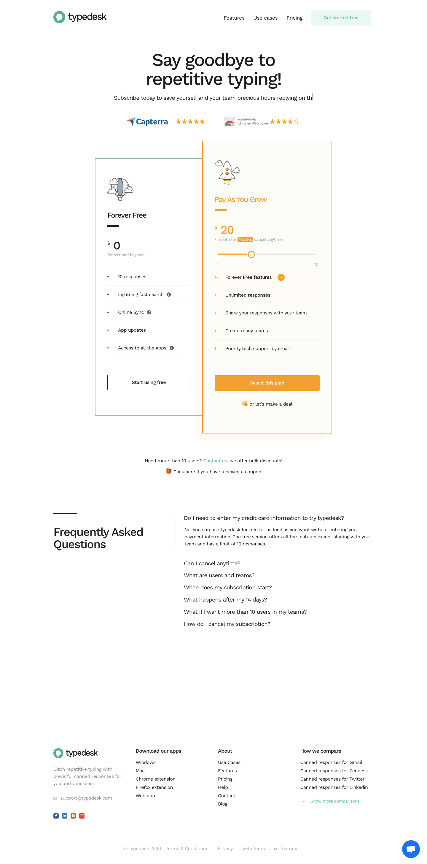 Typedesk Pricing Page