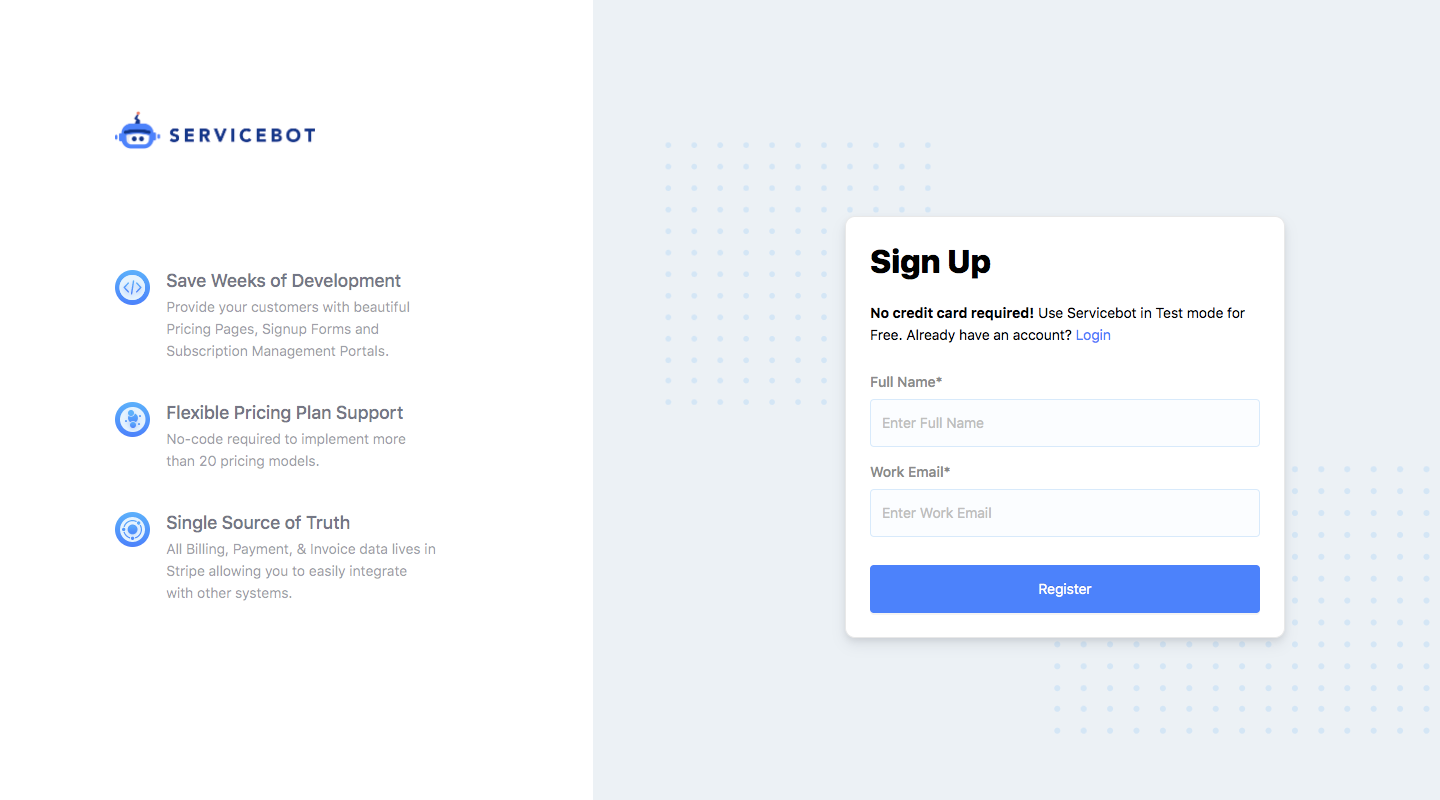 Servicebot Sign Up Flow