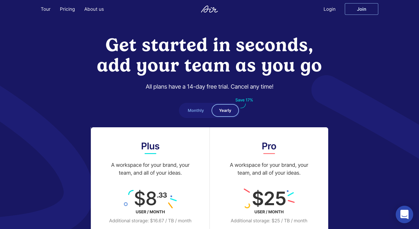 Air Pricing Page