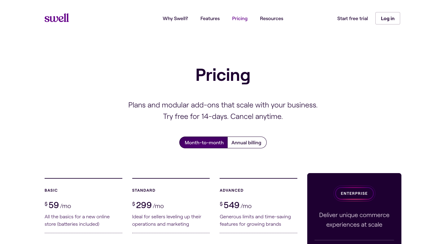 Swell Pricing Page