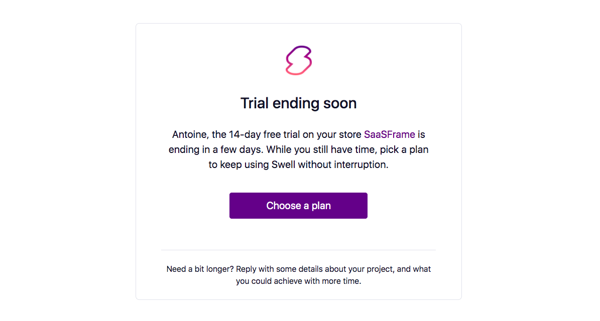Swell Free Trial Emails