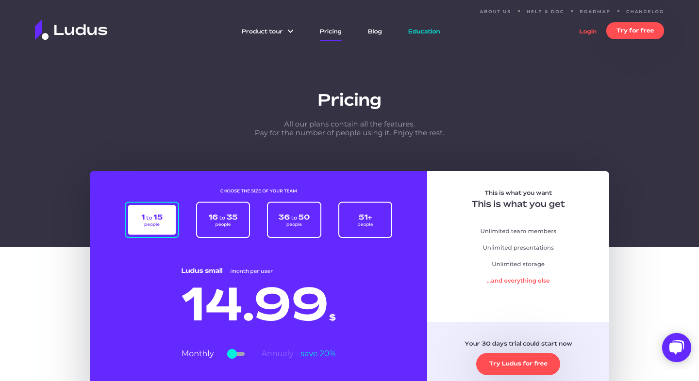 Ludus Pricing Page