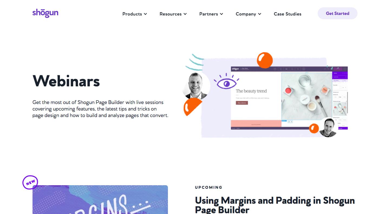 Shogun Webinars Page