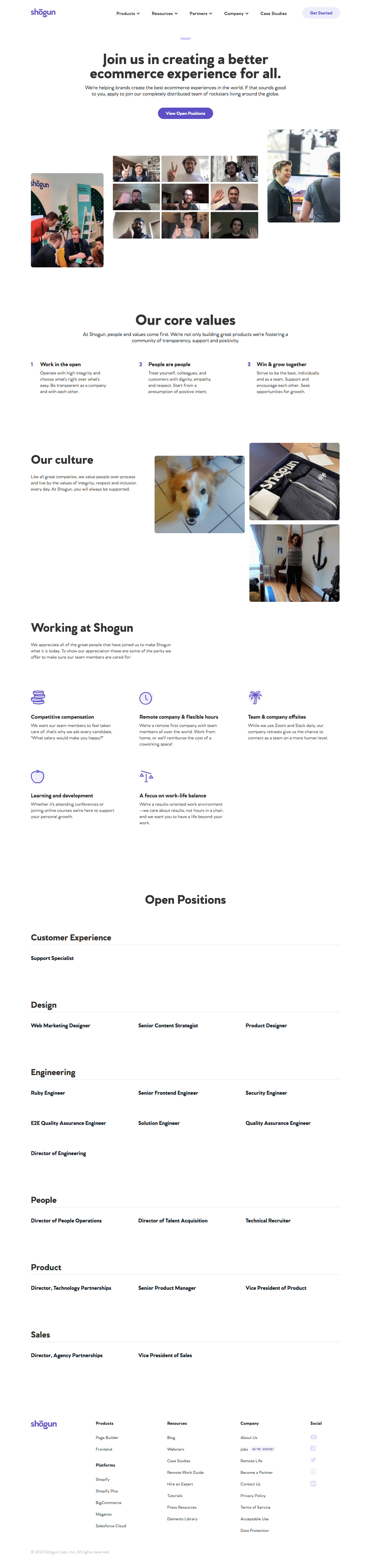 Shogun Careers Page
