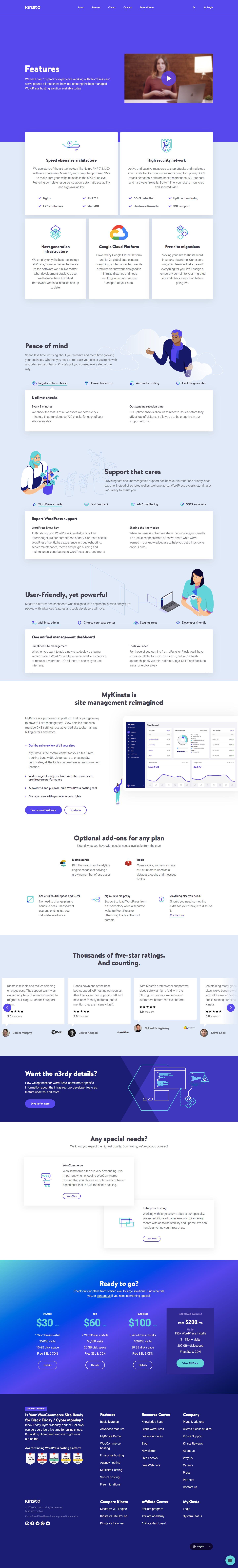 Kinsta Features Page
