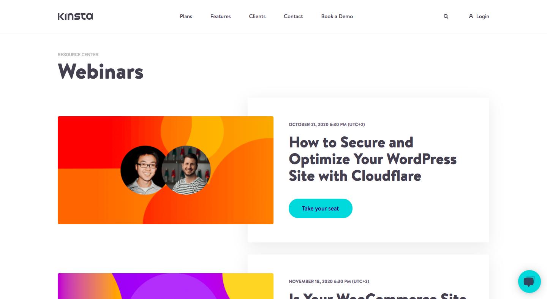 Kinsta Webinars Page