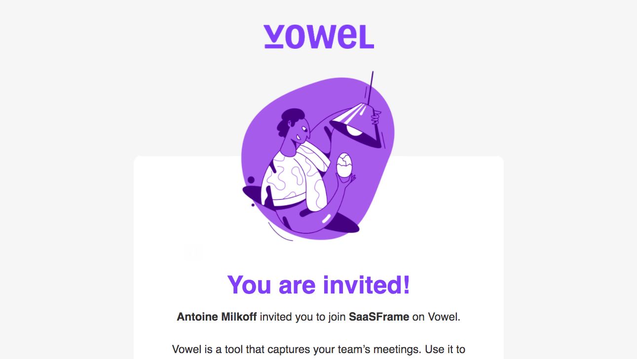 Vowel Invitation Email