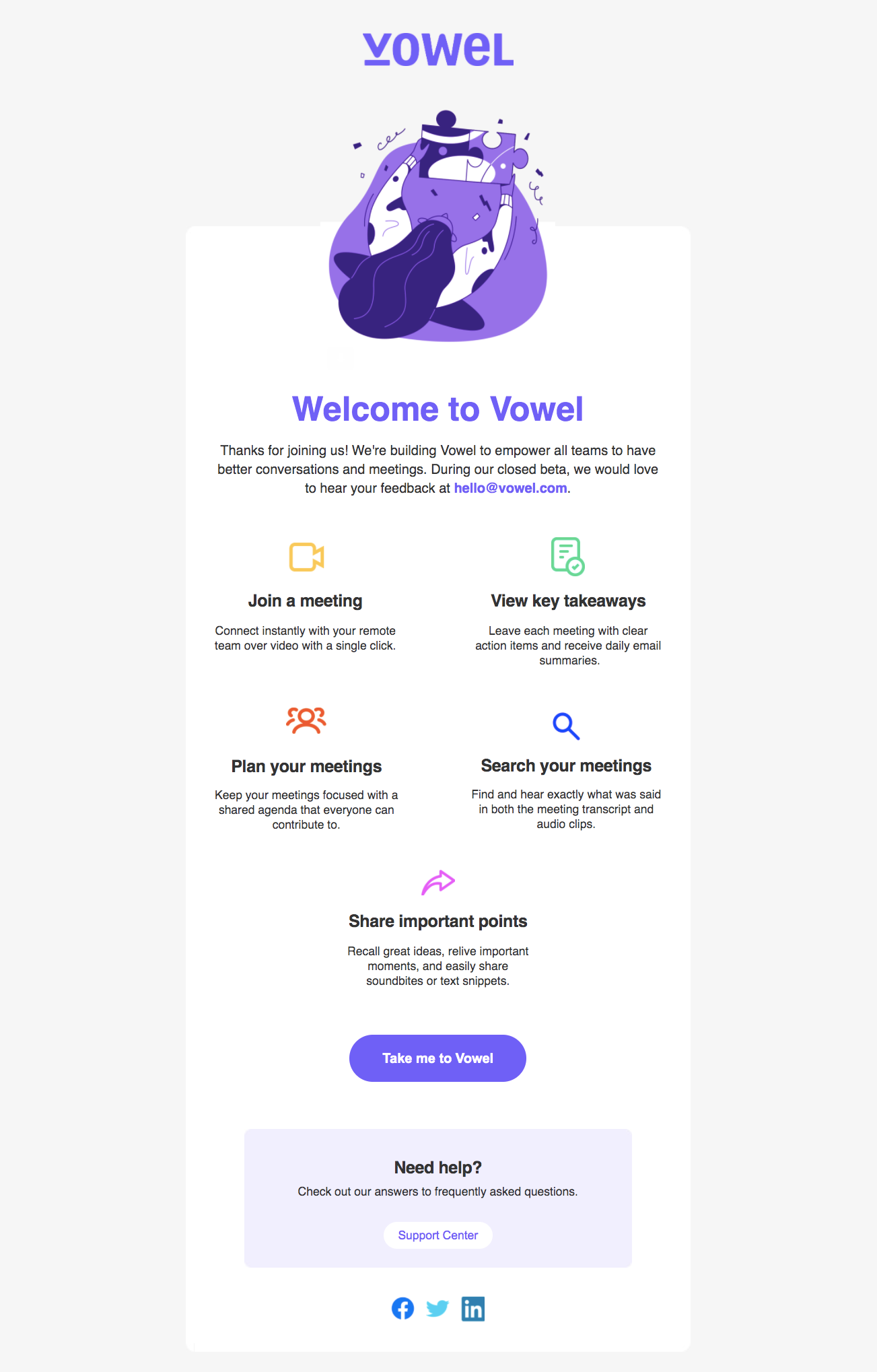 Vowel Welcome Email