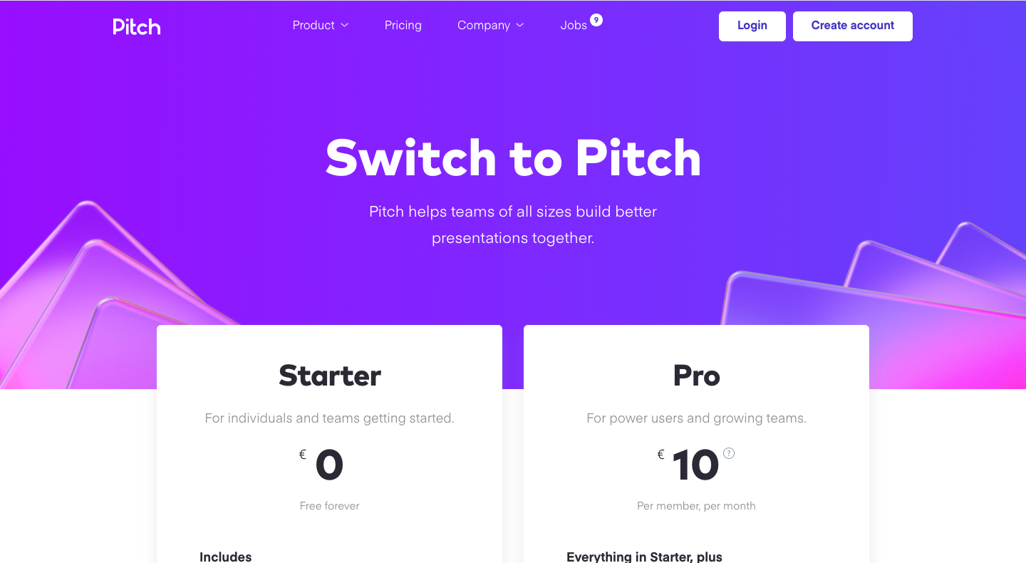 Pitch Pricing Page