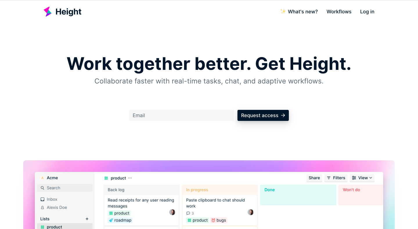 Height Early Access Page