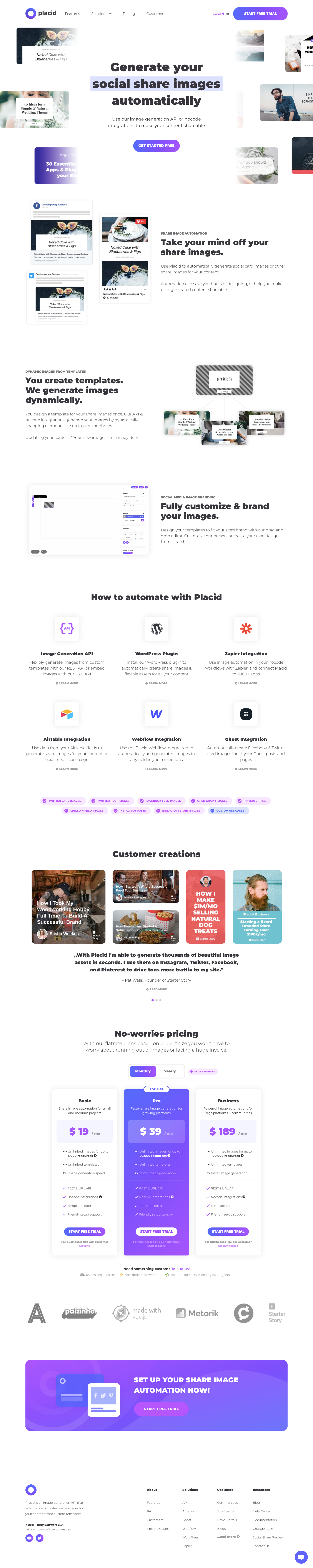 Placid Landing Page